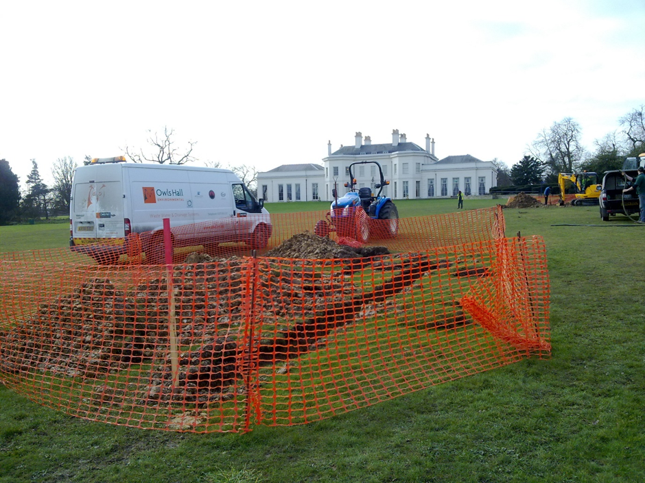 Hylands House pumped sewerage system installation